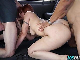 Big tit redhead begs for anal threesome
