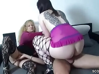German Mom Help Step Daughter to Fuck With Step Dad