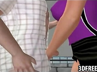 A hot blonde in 3D with big tits jerks cock off