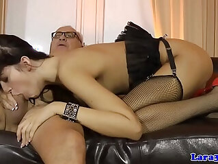 Stockinged brit milf sucks and fucks anal threeway