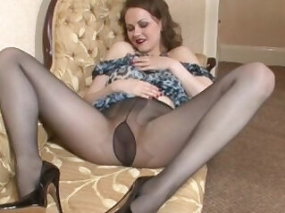 Brunette Teases With Pantyhose