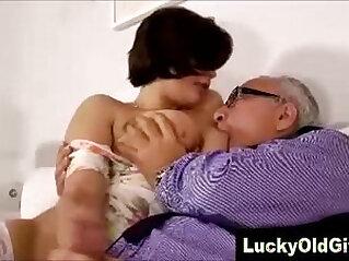 Pretty girl in stockings fucks older British man