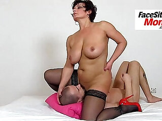 Dirty older woman Gabina facesitting young muscular boy