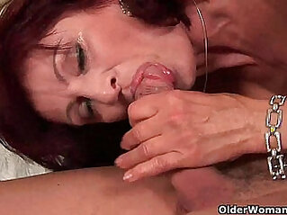Squirting grandma needs to get off on his dick