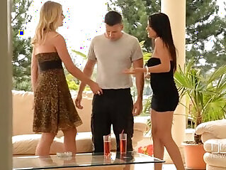 College sister Aida Sweet and Lucy Heart devour a cock outdoors
