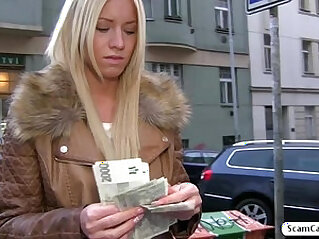 Hot blonde Kiara gets her throat fucked in doggystyle for cash and she receives a creampie