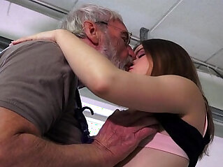 Euphoric party girl is ass slapped and fucked by her ancient hubby at grandpa niche