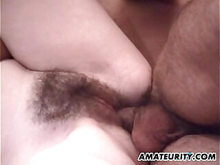 Busty hairy amateur girlfriend anal with cum