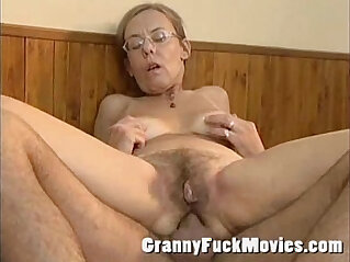 Old granny gets fucked hard in her hairy ass