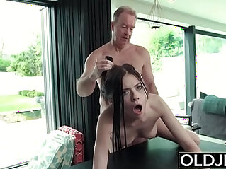 Hardcore Fuck For Teen Sucking cock swallows cum Getting anal Fucked By Old Man