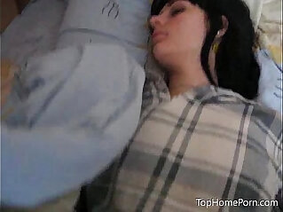 Fingering her hairy pussy while sleeping