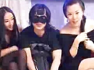 Lucky Chinese Guy fucking Japanese girls in Black